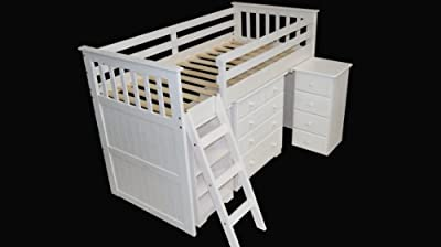 3'0 Mid Sleeper Bed with 3+2 chest in White Finish