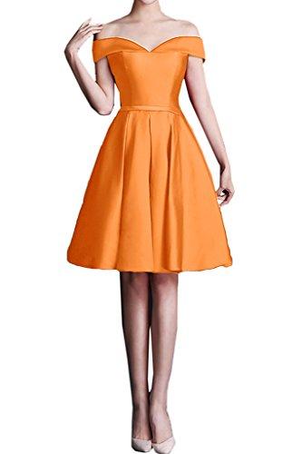Milano Bride Damen Modisch Ab von der Schulter Abenkleider Festkelider Abschlusskleider Kleider Kurz Mini Orange