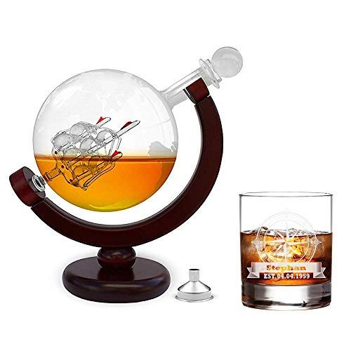 FORYOU24 Whiskeykaraffe im Globus Design + Whiskyglas mit Gravur - Weltkugel Dekanter aus Glas mit Segelschiff Dekor - Scotch Decanter - 850ml