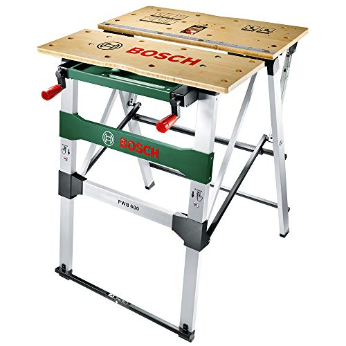 The Bosch PWB 600 Workbench is mainly constructed from aluminium box section extrusions and has a 15mm bamboo block top. Its worktop is 680mm wide by 550mm long. It is a very stable bench with a large working area and vice which can be folded and re-assembled in seconds.