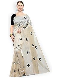 Vinayak Textiles Cotton Silk Blend Saree With Blouse Piece Material (TitaliBlack_Black_Free Size)