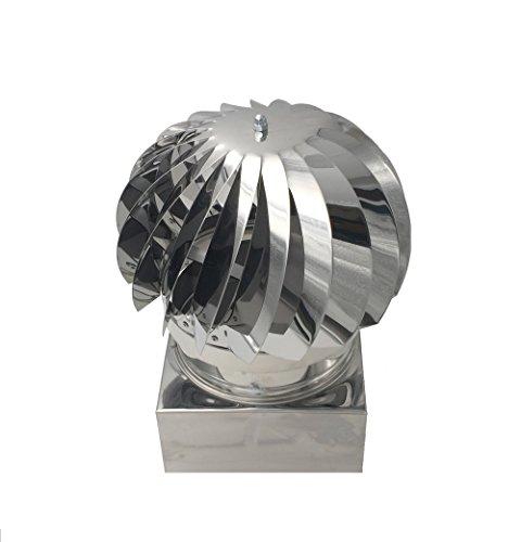 Comignoli girevoli, cappello eolico per camini in acciaio inox, base quadrata (42x42 cm)