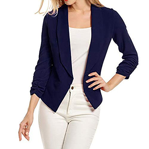 VECDY Damen Jacken,Räumungsverkauf- Frau Business Mantel Blazer Anzug Langarmshirts Slim Jacket Outwear Größe S-6XL Lässige warme Jacke (XL, T-Marine) - Plus Herren-winter-mäntel Size