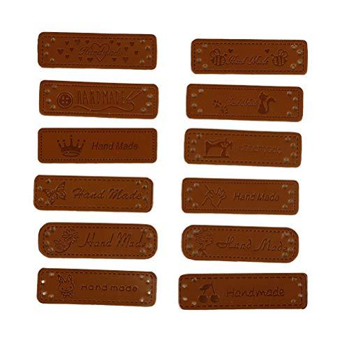 Healifty 24 Stück Leder Tags Handmade Labels Etiketten mit Löchern für Nähen Knopf DIY Basteln Scrapbooking Kleidung Zubehör (Nähen Sie Aus Von Etiketten)