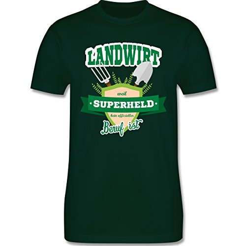 Shirtracer Landwirt - Landwirt - Weil Superheld Kein Offizieller Beruf ist - Herren T-Shirt Rundhals Dunkelgrün