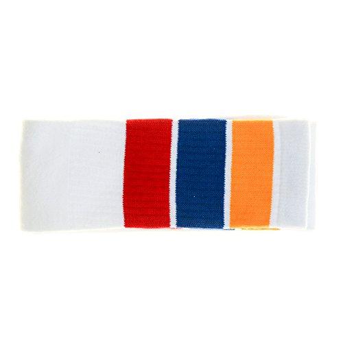 Choobes (Unisex) 22 Zoll Knie High White Tube Socken mit Gold/Royal Blue/Red Stripes (Hohe Gold Socken Gestreifte)