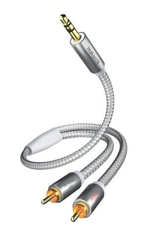 in-akustik - 004100015 - Premium Klinkenadapter - 3,5mm Klinke -> 2 x RCA | Für den Anschluss von Smartphones, Tablets oder PC an HiFi-Verstärker | 1,5m in Weiß/Silber | 2-fache Abschirmung - moderner Geflechtschirm