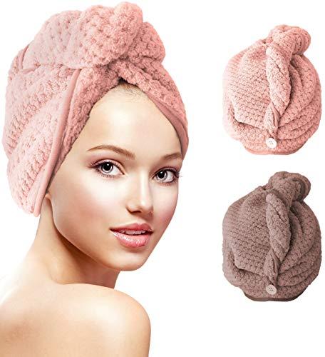 Wrap Turban Haartrockentuch, Schnelltrocknendes Saugfähig Handtuch Haartrockentuch Handtücher für die Haare, Haarpunzel Haar trocknendes Tuch, 2 Stücke (Braun/Rosa)