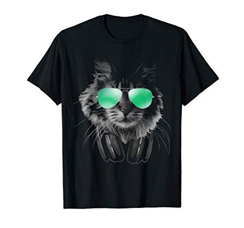Cooler Katze mit Sonnenbrille und Kopfhörern