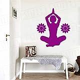 xingbuxin Sticker Mural Lotus Yoga Pose Vinyle Stickers Muraux Mandala Fleur Motif Fitness Relax Home Decor Art Moderne Mural Conception 4 57x65 cm