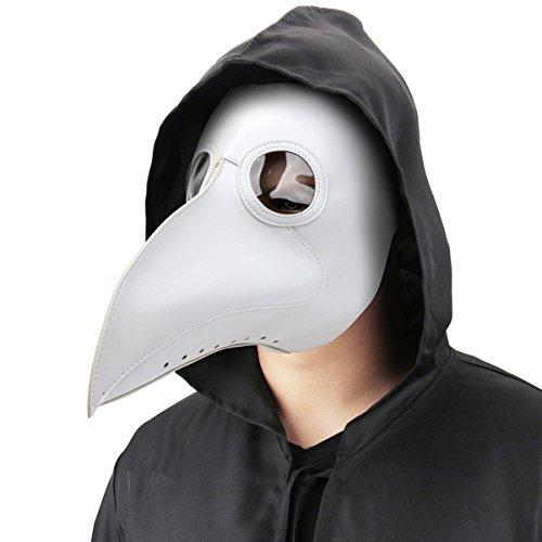 Dreamworldeu Pest Maske Vögel Lange Nase Schnabel Doktor Arzt Maske Steampunk Kunstleder Schnabelmaske Kopfmaske für Halloween Fasching Karneval Kostüm Requisiten