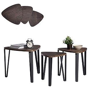 Aingoo 3 Couchtische Beistelltisch Nachttisch 3er Set für Balkon Garten Satztisch Sitzgruppe Niedrige Tisch Nesting Table Mitteldichter Holzfaserplatte MDF Tischbein Aus Metall Tisch In Braun