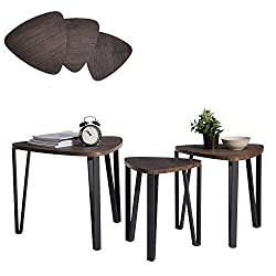 Aingoo Set of 3 Nesting Tables Coffee Table Set End Side Tables Wood With Metal legs, Dark Brown
