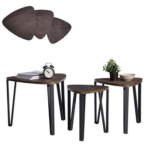 Nido de 3 mesas Mesa de centro de madera Mesa de mesa de extremo con pierna de metal, marrón oscuro