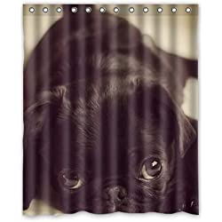 Pug Puppy Dog Animal Shower Curtain 60 x 72 Inch Bathroom
