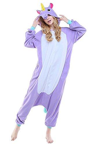 (ABYED® Kostüm Jumpsuit Onesie Tier Fasching Karneval Halloween kostüm Erwachsene Unisex Cosplay Schlafanzug- Größe XXL -for Höhe 182-190CM, Lila Einhorn)