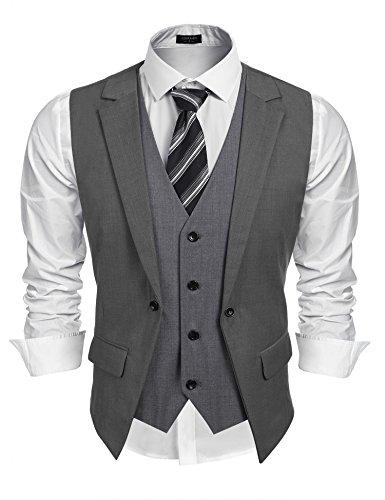 Burlady Herren Western Weste Herren Anzug Weste Slim Fit Gilet Business Anzugweste für Herren -