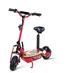 Ecoxtrem Patinete, Scooter tipo moto Eléctrico dos ruedas, Plegable, Color Rojo, Motor de 2000W, Velocidad máxima 40km/h, Autonomía hasta 30-40km, Con suspensión, Luz foco y luz de freno LED y Sillin desmontable. Recomendado a partir de 12 años.