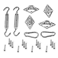 Ankuka Heavy Duty Sun Shade Sail Fixing Kit for Square and Triangle, Rectangle - 304 Stainless Steel Hardware Accessories Kit(includes 2 x Turnbuckles, 2 x Snap Hooks, 4 x Pad Eyes, 16 x Screws)