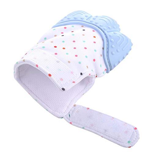 Xiton Silikon Beißring Handschuh BPA frei Baby Molar Handschuhe Kinderkrankheiten Spielzeug Ideal Dusche Geschenk (blau) 1 Stück