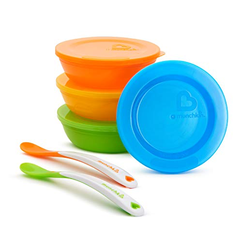 Munchkin - Recipiente para Conservación de Alimentos 4 bols/Tapa + 2 Cucharas...