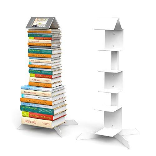 Bücherstapelregal freistehend mit 'Bookmark Regal' in weiß für kleine und große Bücher