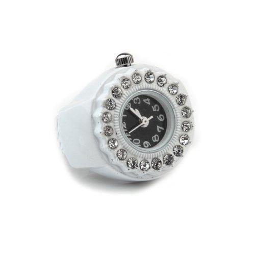Skyllc® Metallo rotonda Stretch l'anello di barretta di stile Diamond Time Guarda con il pulsante 20 millimetri Batteria 1.5V Colore Bianco