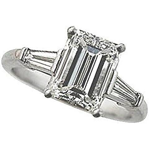 Smeraldo e diamante, taglio Baguette-Anello in oro bianco, con tre pietre - Smeraldo Baguette Anello