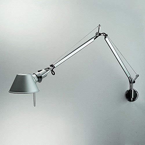 Rishx Verstellbare lange Schwenkarm-Wandlampen, die modernes minimalistisches Metall E27 an der Wand befestigte Arbeitslampe Studie-Schlafzimmer-Wohnzimmer-Lesewandlicht beleuchten (Color : Silver) -