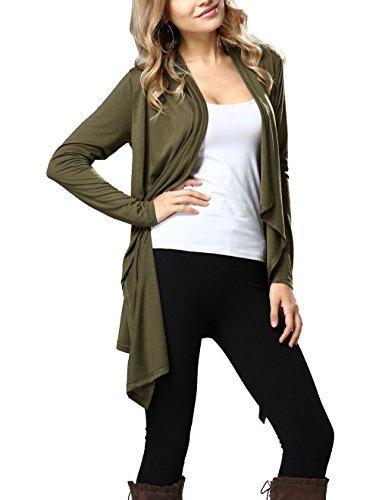 Femme Automne Manches Longues Cardigan mi-Long Devant Ouvert Asymetrique Gilet Long Veste Automne Pull Outwear Décontracté Manteau Sweat Tops YOSICIL Armée Verte