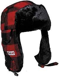 Sombrero de leñador con Piel, rojo/negro - S