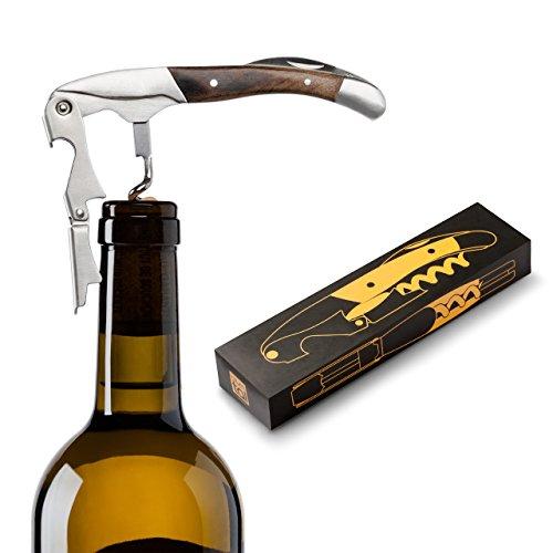 Flaschenöffner, Korkenzieher, Kellnermesser - 3 in 1 Premium Weinöffner aus Bergahorn, silber-braun