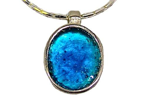 Edel Silber Sterling Halskette mit Anhang im Mittelmeerblau | schlicht | Antik-römisches Glas 2000 Jahre alt | Kunsthandwerk extraordinaire by Niibuhr Jewelry -