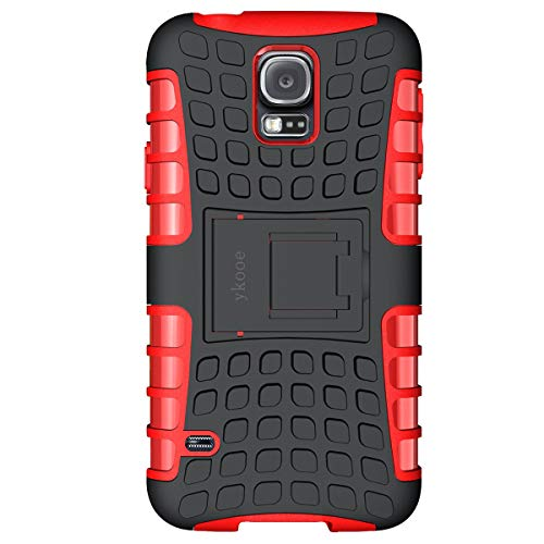 ykooe Galaxy S5 Hülle,S5 Hülle (TPU Series) Dual Layer Hybrid Handyhülle Drop Resistance Handys Schutz Hülle mit Ständer für Samsung Galaxy S5 (Rot)