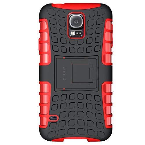 galaxy s5 schutz ykooe Galaxy S5 Hülle,S5 Hülle (TPU Series) Dual Layer Hybrid Handyhülle Drop Resistance Handys Schutz Hülle mit Ständer für Samsung Galaxy S5 (Rot)