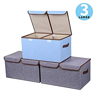 Storage Boxes Set of 3, Large Cotton Fabric Foldable Cube Organiser Bins Baskets with Lids and Handles Container Clothes Blankets for Home, office and Laundry Organization (Light Grey & Sky Blue)