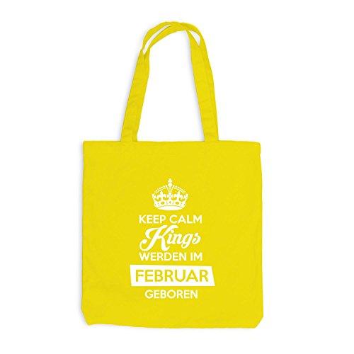 Sacchetto Di Juta - Mantenere I Re Calmi Sono Nati A Febbraio - Compleanno Giallo Compleanno
