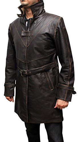 AngelJackets Aiden Pearce Watch Dogs Brown Long Trench Leather Coat XXXL