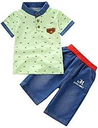 Counjunto de Ropa Bebé Niño Verano 2pc Camisa de Manga Corta Camiseta Pantalones Cortos de Mezclilla Trajes Conjunto de Ropa para Bebés Niños 0-4 años Holatee