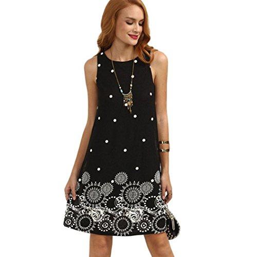 (MRULIC Damen Abendkleid Knielang A-Linie Kleid Partykleid mit Dot-Printing(Schwarz,EU-38/CN-M))