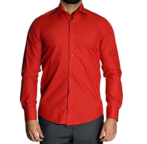 MUGA Homme Chemise à manches extra longues, cintrée Rouge