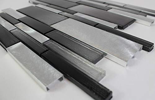 Aluminium Mosaik (Bador Glasmosaik Aluminium Mosaikfliesen Glasfliesen Mosaik Glas Schwarz Silber 30x30cm)