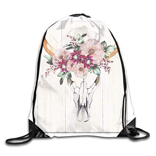 HOJJP Mochila escolar Cow Skull with Flowers Drawstring Backpack Bag Shoulder Bags Gym Bag for Adult