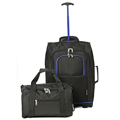 "21""/55cm 5Ciudades negro Carry on ligero equipaje de mano con ruedas Bolsa de equipaje de mano"