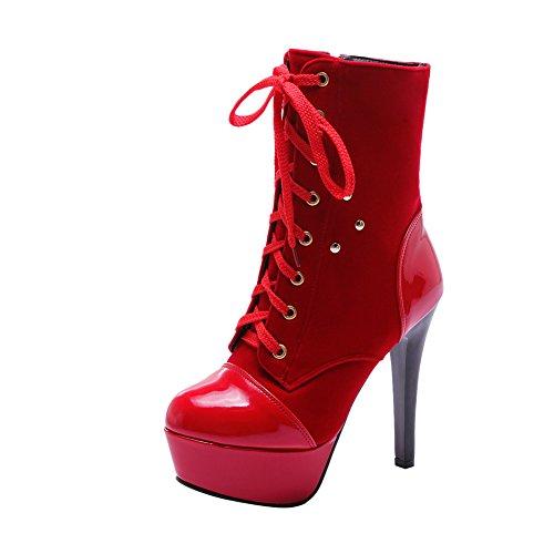 Mee Shoes Damen modern Nubukleder Plateau mit Schn眉rsenkel Rei脽verschluss Trichterabsatz Stiefel Rot