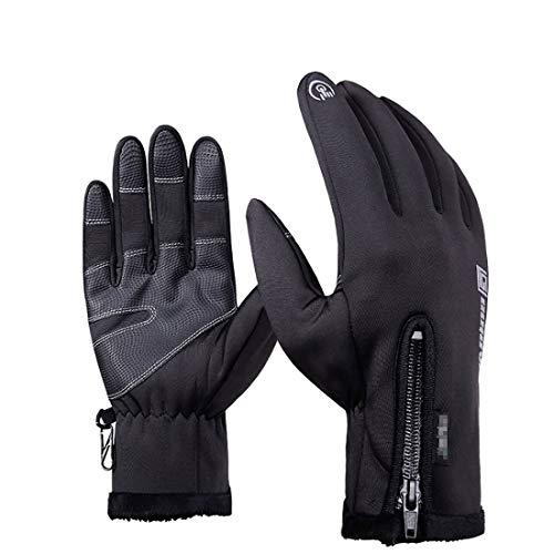 Boomly Unisex Herren Winter Handschuhe Wasserdicht Touchscreen Handschuhe Winddicht Warm Vollfinger Handschuhe Mit Reißverschluss Wandern Skifahren Radfahren Motorrad Fahren (Schwarz, XXL)