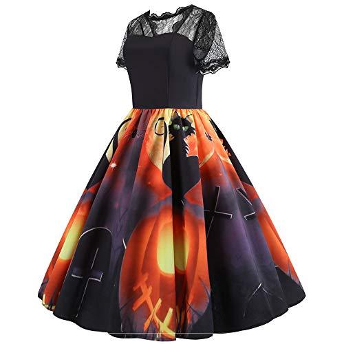 Longra Damen Halloween Kostüm Halloween Partykleider Druckkleider 1964er Ärmellos Vintage Retro Spitzenkleid Rundhals Abendkleid