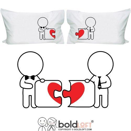 BoldLoft 'Hechos el uno para el otro' Gay par pillowcasesgay Regalos, día de San Valentín regalos para los gays, Gay boda regalos