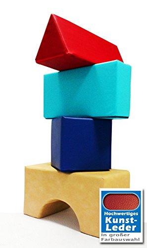 Softbausteine Set Großbausteine aus Schaumstoff Kunstleder strapazierfähig leicht zu reinigen. Kita Kindergarten Bauklötze, weiche Bausteine, Riesenbausteine, Spielpolster Made in Germany (Kunstleder Charlotte)