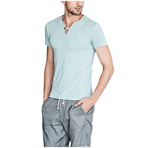 Batik-sandalen Aus Leder (BURFLY Mode Herren Oberteile, Männer Sommer Vintage Reine Farbe Leinen Kurzarm Retro Einfach und bequem T-Shirts Tops Bluse)